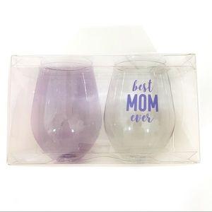 Slant Best Mom Ever jumbo plastic wine glasses